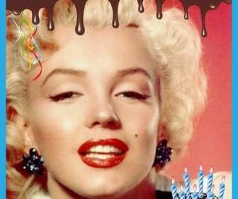 cartão do feliz aniversario com borda chocolate derretido