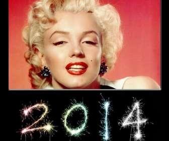 Cartão postal para felicitar o ano novo de 2014, com os números escritos com chuviscos.