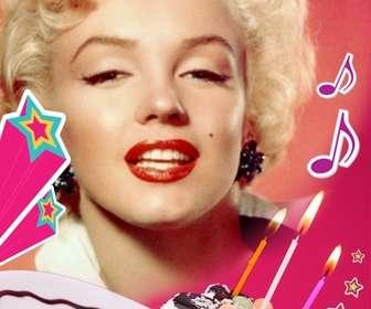 cartão aniversario onde voce faz o upload uma imagem com um fundo rosa um bolo com velas estrelas e musica