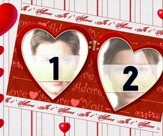 Moldura para duas fotos, para o dia dos Namorados. Editar esta fotomontagem e muitas outras on-line.