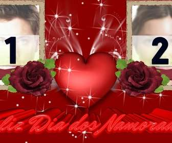 Moldura para duas fotos de amor, elogiando o Dia dos Namorados, Dia dos Namorados. Use este efeito para criar um cartão personalizado, online e gratuito.