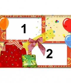 Cartão do aniversário com balões e presentes para duas fotos