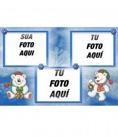 Cartão de Natal onde você pode colocar 3 fotos com os presentes de Natal e tem um fundo azul
