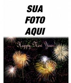 Cartão de Natal que saudou o novo ano em Inglês. Podemos inserir uma foto em cima de um céu noturno cheio de fogos de artifício