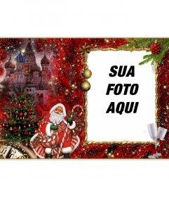 fotomontagem elegante de Natal e Papai Noel para adicionar seu retrato