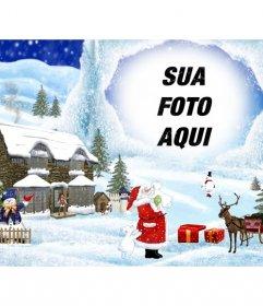 Cartão de Natal com desenho de Natal cenário de fundo.