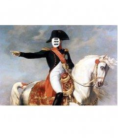 Fotomontagem com Napoleão Bonaparte a cavalo. Coloque um rosto para a figura histórica.