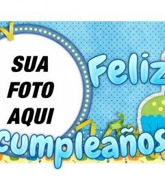 Cartão customizável com uma foto de alguém. Desejo um feliz aniversário com este cartão com predominância de azul e motivos de férias.
