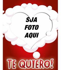 Fazer um cartão postal online com sua foto e uma moldura em forma de coração, rodeado por nuvens brancas sobre um fundo vermelho.