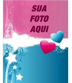 Valentine cartão postal Dois corações cor-customizáveis com uma fotografia. Editar esta fotomontagem online e de graça. Você pode guardá-lo para imprimir ou enviar por e-mail