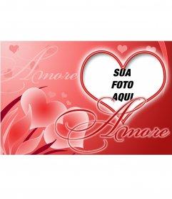 Coração cartão postal em forma de amor, para colocar a imagem de sua amada