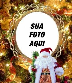 Coloque sua foto em uma árvore de Natal com o Papai Noel