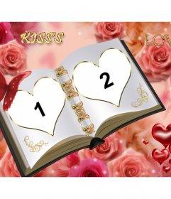 Moldura personalizável com duas fotos diferentes. Livro de amor com enfeites de rosas.