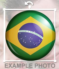bandeira brasileira como um botão para colar em suas fotos