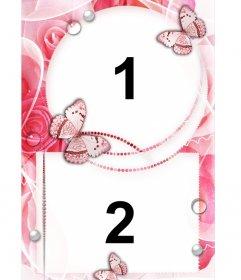Moldura para duas fotos de amor com enfeites de rosas e borboletas
