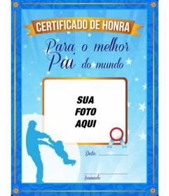 Diploma para o melhor pai do mundo, com armação azul e ouro para adicionar uma imagem livre