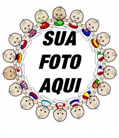 Quadro da foto com borda de crianças de todas as nacionalidades com suas bandeiras