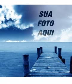 Fotomontagem para fazer colagens com sua foto eo céu da imagem com cais à beira-mar.