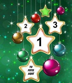Colagem de estrela do Natal para carregar quatro fotos