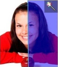 Efeito de foto para coloração de uma imagem azul. Efeito on-line, sem necessidade de baixar nada e é gratuito