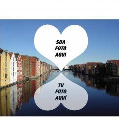 Cartão para duas fotos de Trondheim