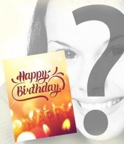 Cartão de aniversário para colocar sua foto no fundo