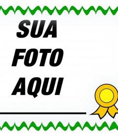 Frame decorativo para fotos com um projeto de um diploma