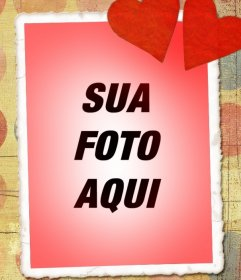 Cartão de amor com sua foto, tom vermelho e dois corações