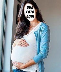Fotomontagem para colocar seu rosto em uma barriga de mulher grávida tocou
