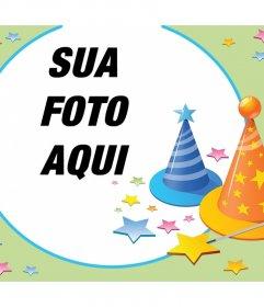 Fotomontagem com partidos chapéus e muitas estrelas para comemorar cartão editável