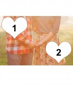 Colagem de amor para duas fotos com um par de mãos que clasping