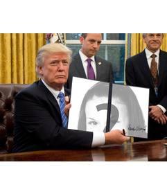 Donald Trump fotomontagem para colocar suas fotos em uma ordem executiva acaba de assinar