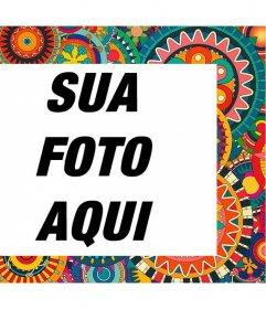 Quadro com detalhes coloridos e étnicos para decorar suas fotos para
