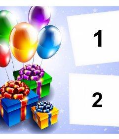 Cartão com balões e presentes para a edição com duas fotos e livre