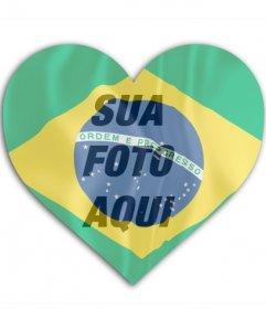 Fotomontagem para colocar a bandeira do Brasil em forma de coração com sua foto no fundo