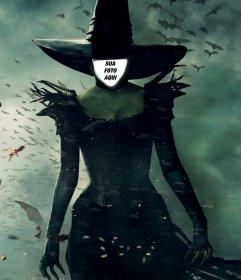 Montagem da foto da bruxa Oz colocar uma foto do seu rosto nele