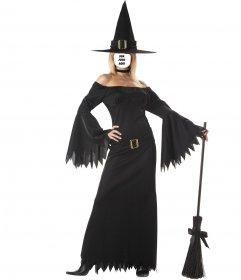 Fotomontagem da mulher com traje da bruxa sexy