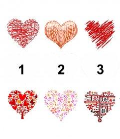 colagem editável com corações para decorar quatro fotos