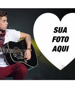 Envie sua foto dentro de um coração e com efeito de foto on-line Justin Bieber