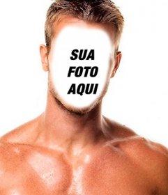 Fotomontagem de um homem musculoso e forte para colocar um rosto.