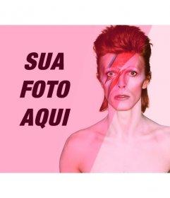 Fotomontagem com David Bowie com filtro-de-rosa para adicionar e editar suas fotos online
