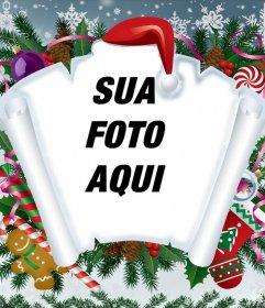 Fotomontagem de Natal com pergaminho e outros itens de Natal