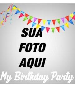 Efeito on-line para enviar sua foto e comemorar sua festa de aniversário
