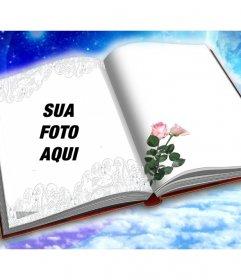 Fotomontagem para colocar sua foto em um livro com duas rosas