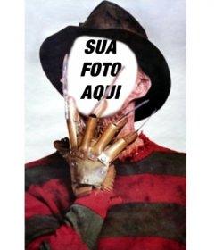 Fotomontagem de Freddy Krueger. Poses com o seu rosto na estrela de A Nightmare on Elm Street.
