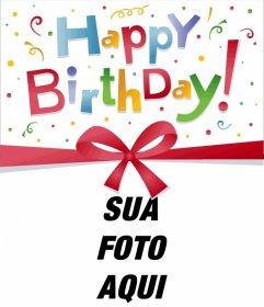 Moldura de fotos de aniversário um cartão postal ou cartão muito colorido, você pode personalizar, incluindo uma foto de sua escolha