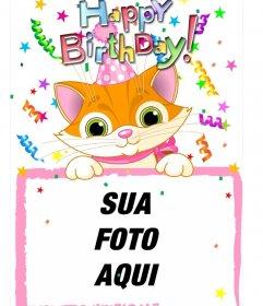 Moldura de foto que inclui uma fotografia, que aparece gato desenhado. feita para usar como cartão de aniversário