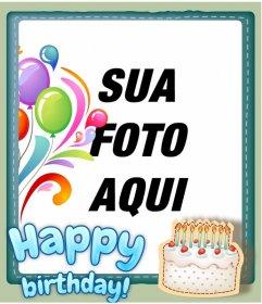 cartão de aniversário personalizado com uma foto. Adicionar uma moldura e um feliz aniversário em azul.