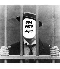 Foto de montagem com sua foto de homem na prisão ou prisão