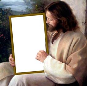 Coloque sua foto em uma foto que contenha Jesus Cristo
